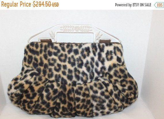 d84b40d7e6ea On SALE Fun Mad Men 1960's Vintage Leopard Faux Fur Handbag * Retro  Rockabilly Mid Century Clutch Purse * Old Hollywood Regency Glamour