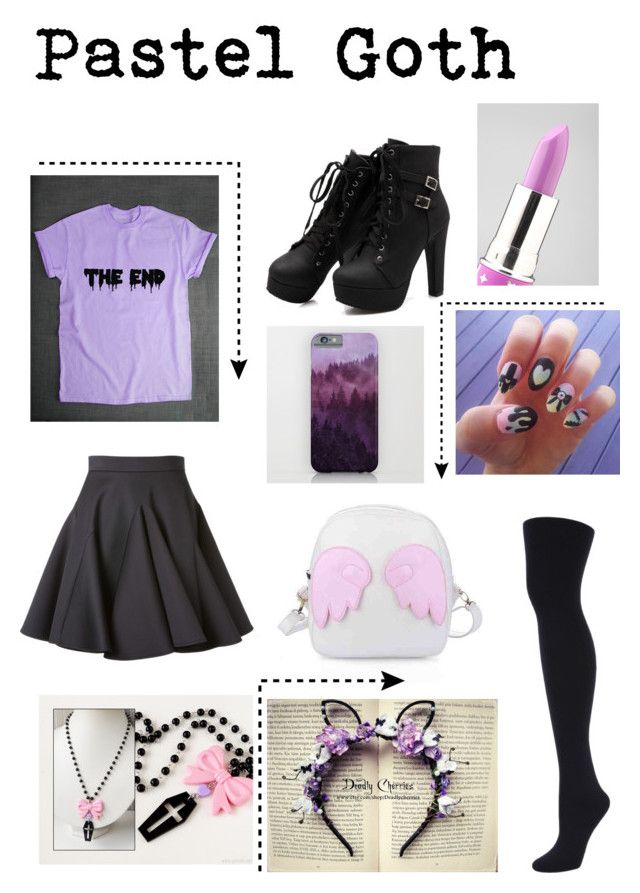 """pastel goth"" by sisuki ❤ liked on Polyvore featuring Francesco Scognamiglio, Hue and Lime Crime"