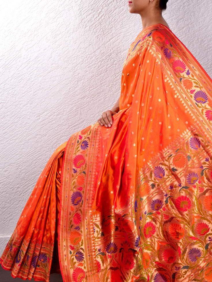 Orange Asawali Paithani