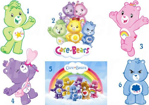 Care bear sticker wall decal or iron on transfer tshirt for Care bears wall mural