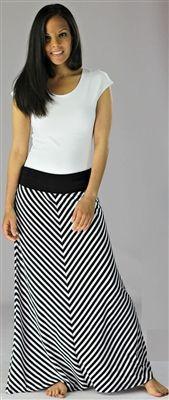 Black and white chevron stripe maxi skirt. Mikarose Summer 2013 Collection