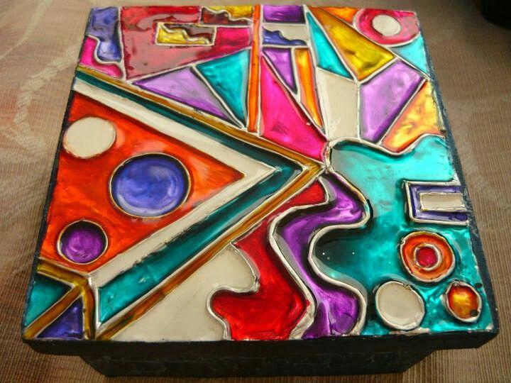 Pintura vitral sobre lamina de aluminio arte terapia - Pintura para aluminio ...