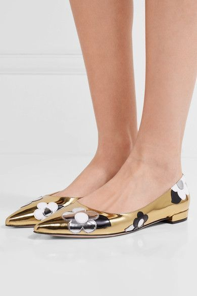 Prada - Appliquéd Mirrored And Patent-leather Point-toe Flats - Gold - IT39.5