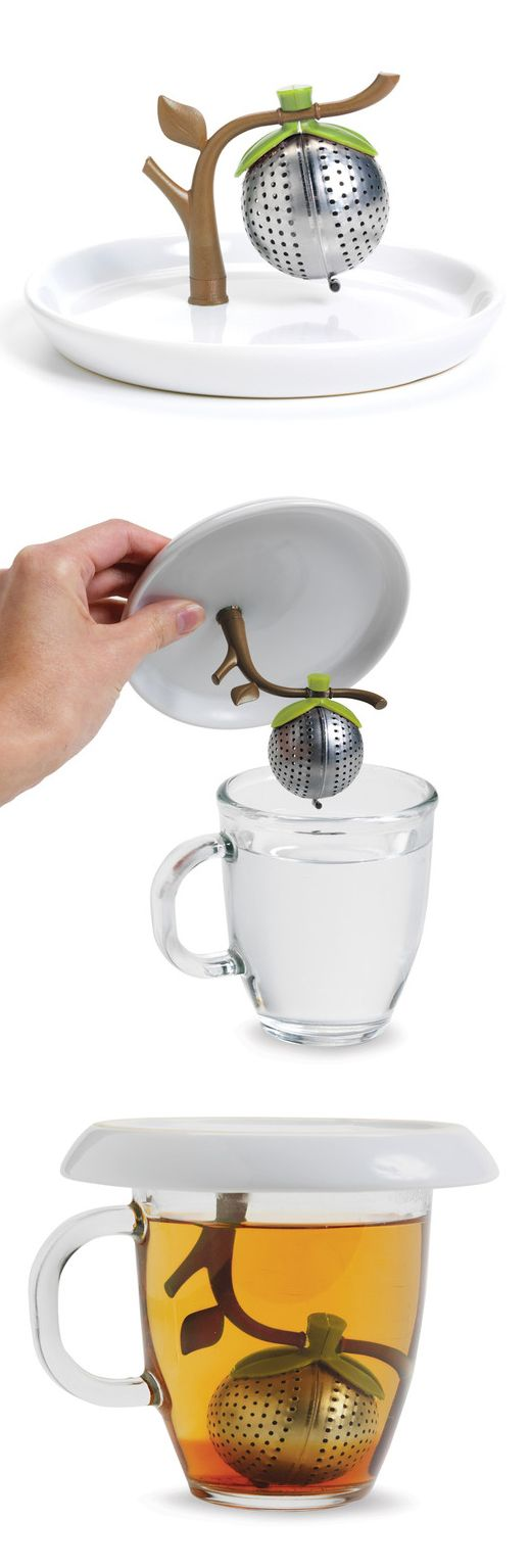 Tree branch tea infuser // The attached saucer catches all the drips! #product_design