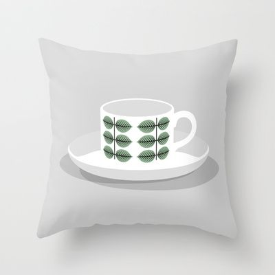 Berså coffee cup Throw Pillow by bittersweat - $20.00