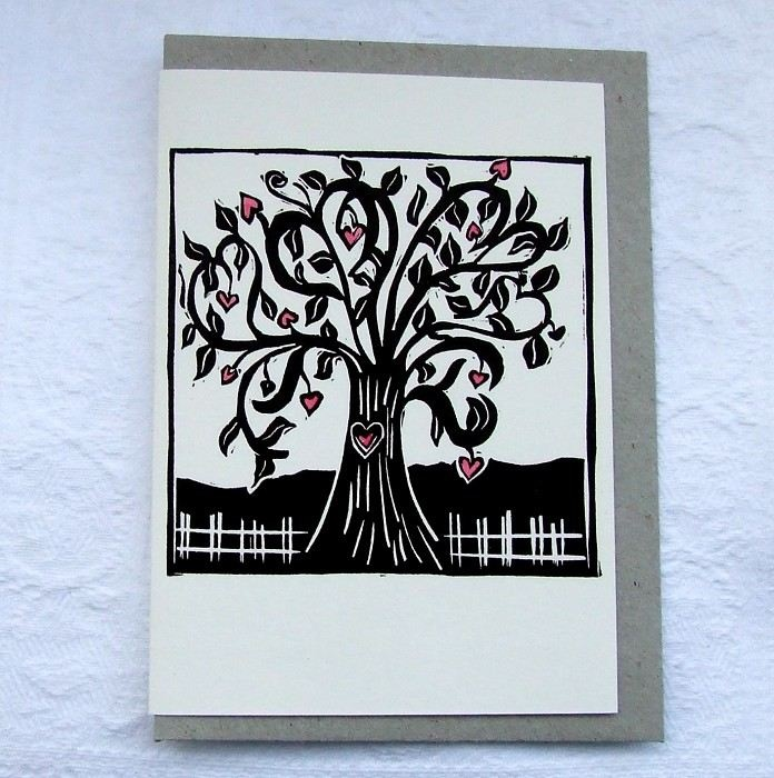 love grows linocut letterpress greeting card - by RubyVictoria on madeit