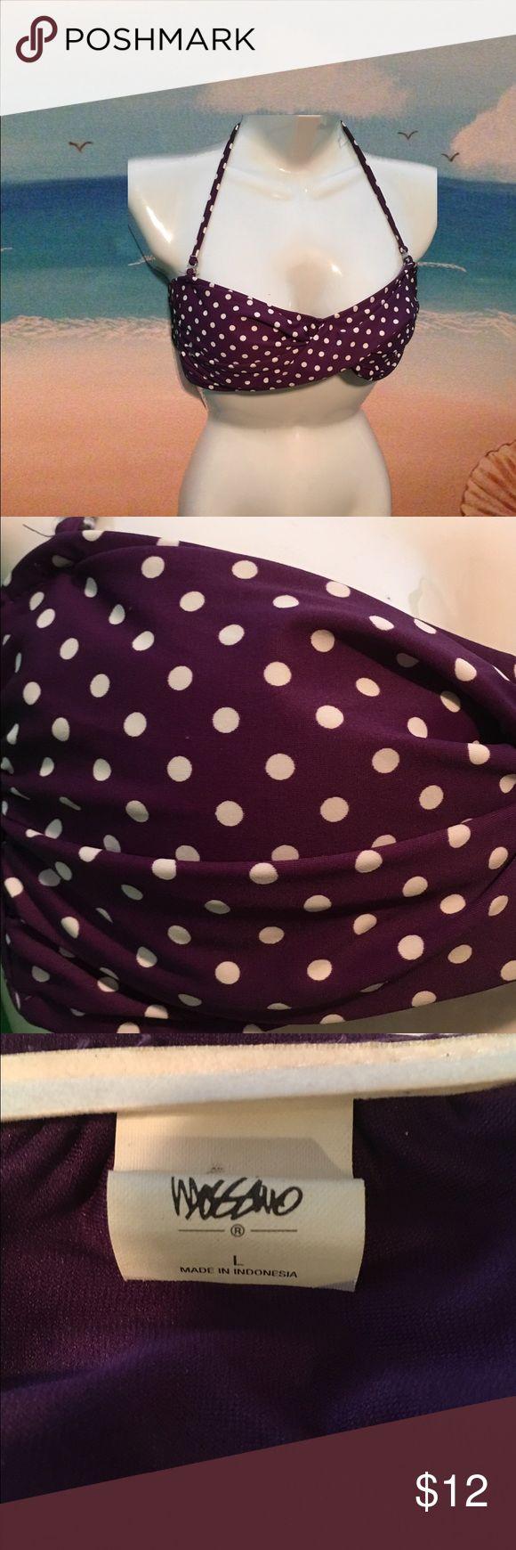 Purple polka dot bikini top Purple polka dot bandeau bikini top. Hook closure on back and one strong around the neck. Mossimo Supply Co Swim Bikinis