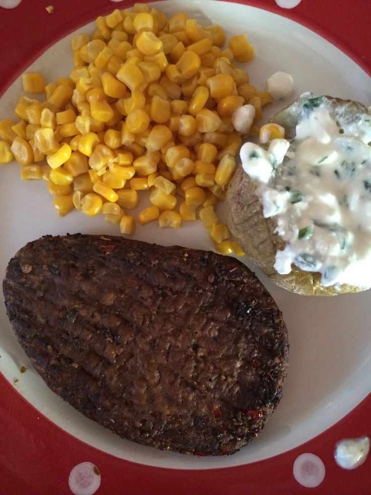 A quorn peppered steak, jacket potato with low fat cottage cheese and sweetcorn.