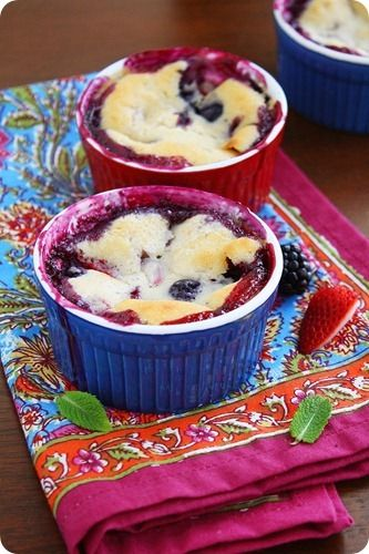Mixed Berry Cobbler – Mini cobblers with fresh strawberries, raspberries and blackberries! Best served warm with vanilla ice cream! | thecomfortofcooking.com