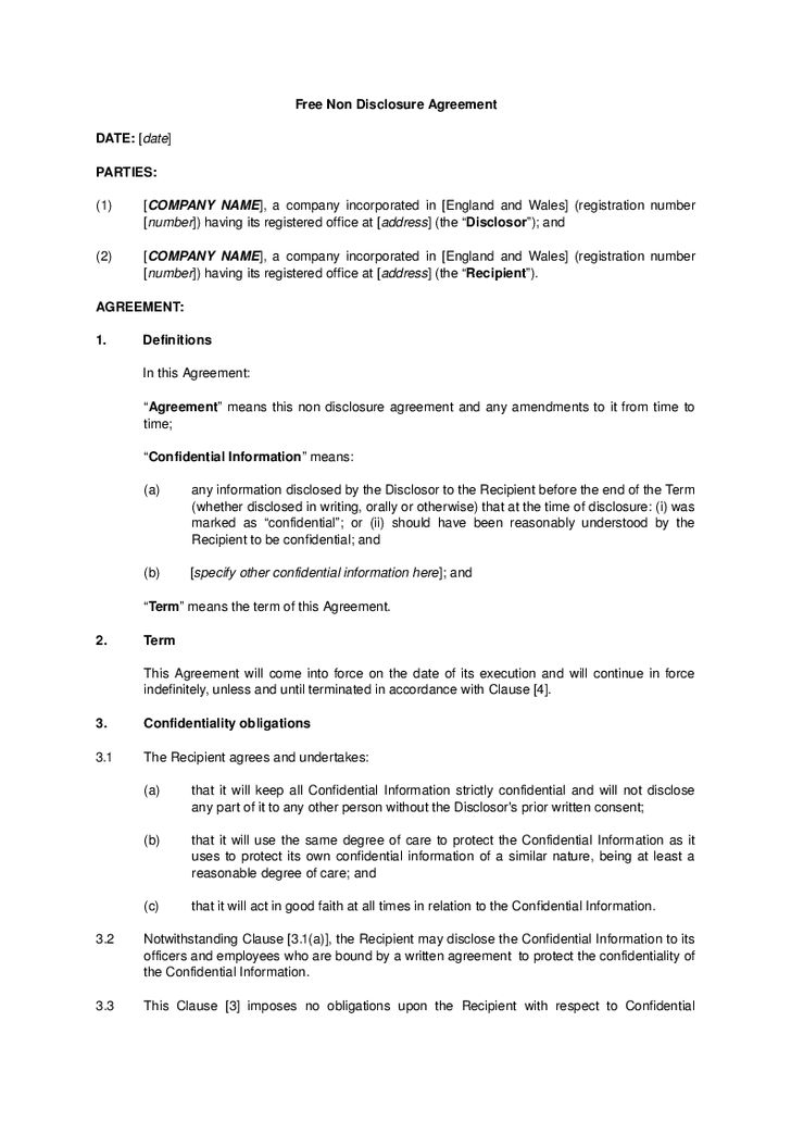 Contractor Confidentiality Agreement Confidentiality Agreement – Non Disclosure Agreement Word Document