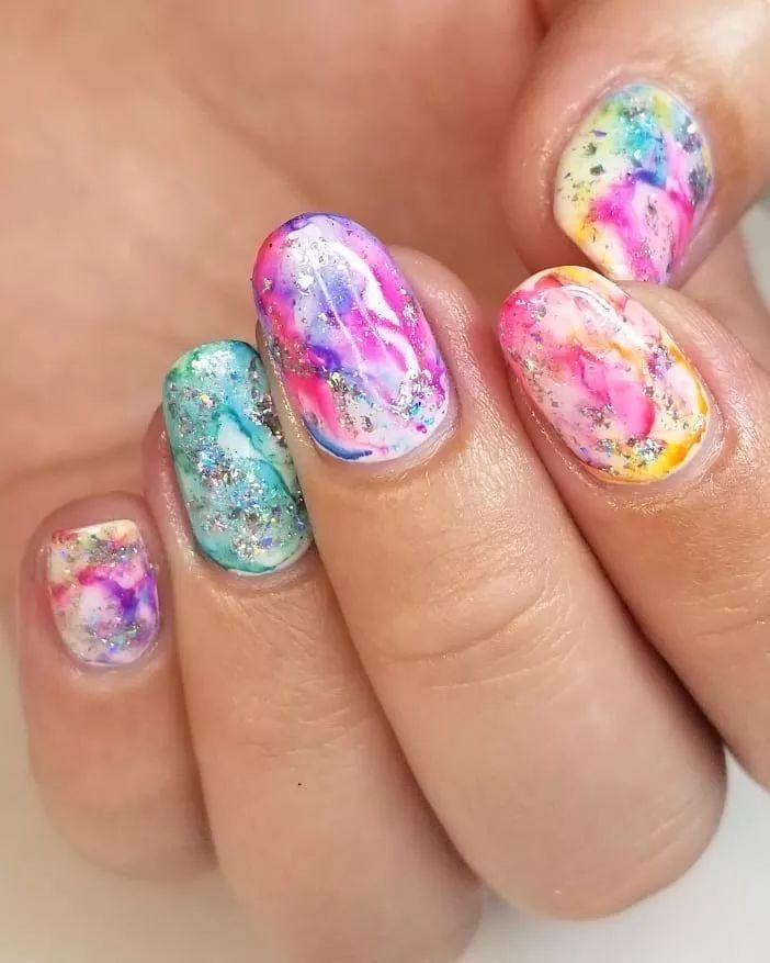 Tie Dye Nails Design Trends Autumn Winter Rainbow Almond Manicure Nail Trends In 2020 Manicure Nail Designs Tie Dye Nails Nail Designs