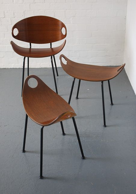 Plywood stools and chair designed by Olavi Kettunen for J.Merivaara, Sweden. 1950s.