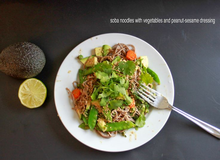 rouge & whimsy: soba noodles with avocado, snap peas and peanut-sesame ...