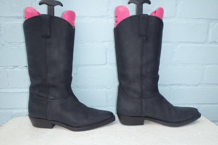~ MARILYN ANSELN LEATHER BOOTS ~ PULL ON BLACK LEATHER HOBBS BOOTS Size 6.5 39.5 #Hobbs #MidCalfBoots