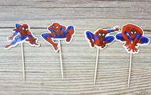 72 unids fresco superhéroe Spiderman dibujos animados Cupcake Toppers selecciones Boy Kids niños decoraciones de fiesta de cumpleaños comida frutas selecciones(China (Mainland))