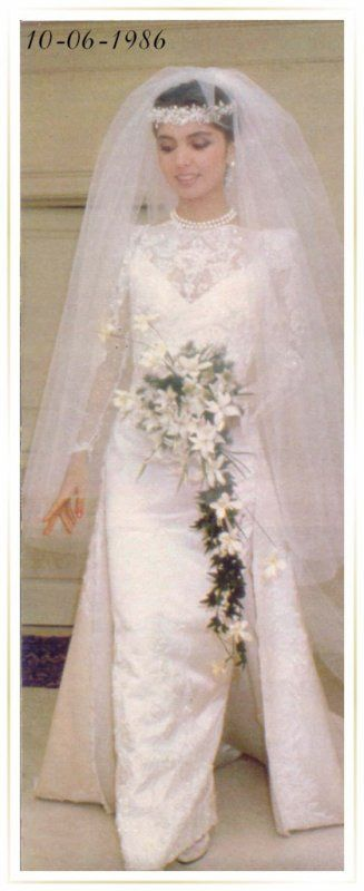 Wedding of prince Reza II Pahlavi of Iran with Yasmine Etemade Amini 12 June 1986~ The Wedding Dress - Yasmine Etemad Amini