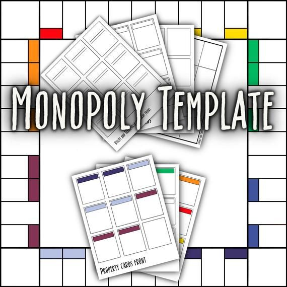 Blank Monopoly Template Monopoly Cards Board Game Template Make Your Own Monopoly