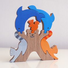 """Jouet : puzzle en bois """"l'ours acrobate"""" : 6 pièces"""