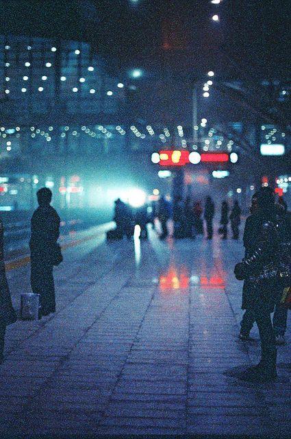 train platform in the night lights