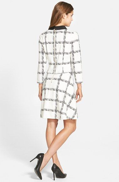 Eliza J Grid Print Ponte Fit & Flare Dress (Regular & Petite) | Nordstrom