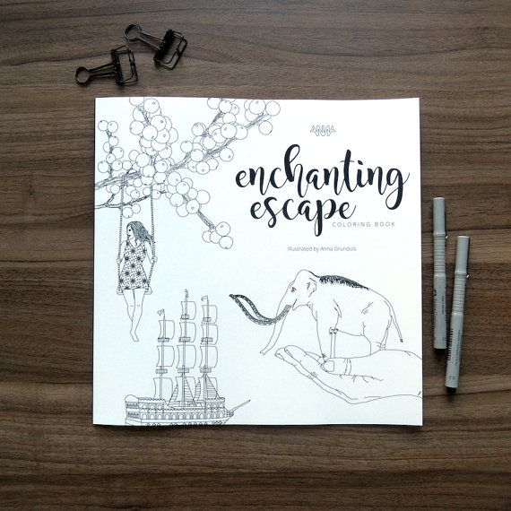 enchanting escape adult coloring book - magical coloring pages - very detailed - fantasy - large boho coloring book - art therapy by AnnaGrundulsDesign