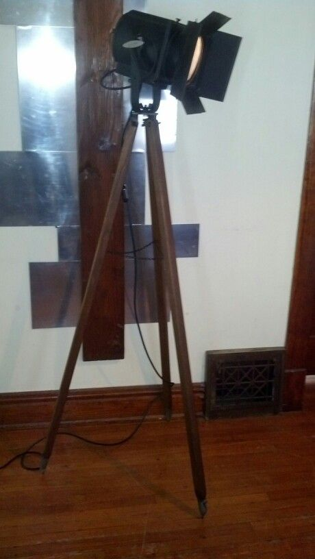 Repurposed Tripod Floor Lamp Vintage Stage Light On Old