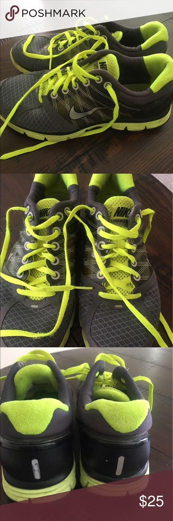 Nike LUNARGLIDE 2 Tennis Shoes (Youth/Women's) These Nike tennis shoes are grey and lime green. They are a youth 5 1/2 which is the same as a women's 7 1/2. They have been worn so have some wear to them but overall good condition. They smell fresh and look clean from the outside. Nike Shoes Athletic Shoes