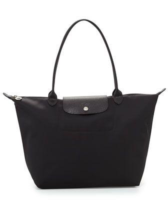 Le+Pliage+Néo+Large+Nylon+Tote+Bag,+Black+by+Longchamp+at+Neiman+Marcus.