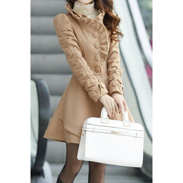 Stand-Up Collar Long Sleeve Solid Color Flounced Women's Coat
