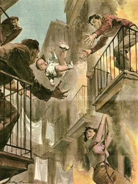 These illustrations of people in various states of peril were painted by the extremely prolific Italian artist Walter Molino. Most of these pieces date from the 1950s.   Much of Molino's work was produced for the Italian newspaper La Domenica del Corriere.   Born in 1915, Molino began his work as a professional illustrator in 1935. He started out working as a comic artist for satirical magazines until he became the official cover-illustrator of La Domenica del Corriere in 1941. It has bee...