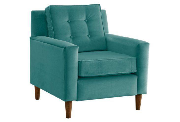 Best Winston Velvet Accent Chair Teal Upholstered Arm Chair 400 x 300