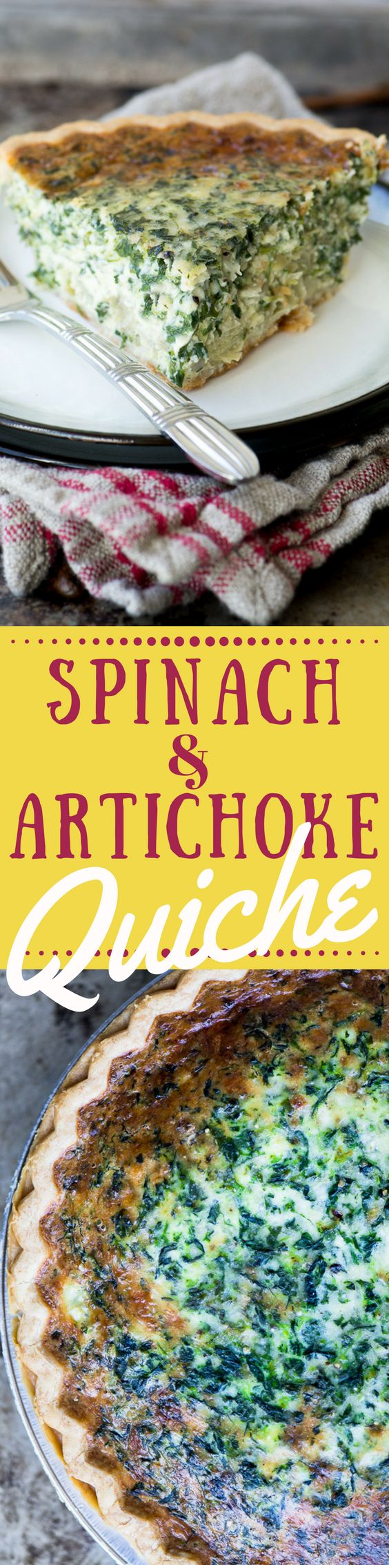 Spinach and Artichoke Quiche marries my favorite lazy day dinner with my favorite cheesy hot dip. It's an easy meatless meal that proves that comfort food isn't all about meat and potatoes.