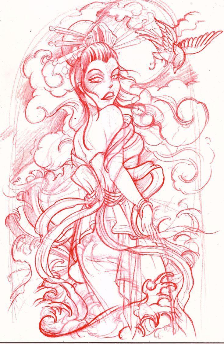 geisha sketch by mojoncio on DeviantArt