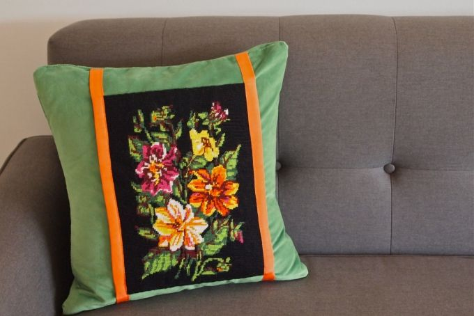 Velvet Floral - Upcycled tapestry cushion by Hector & Bailey