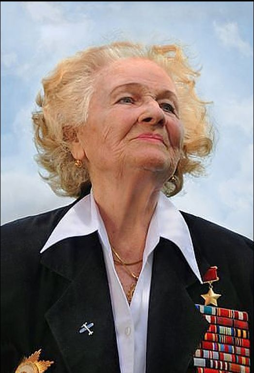 """Nadezhda Popova was a Russian pilot during WWII. The German military called her one of the """"Nachthexen"""", or """"Night Witches"""" She flew 852 decoy missions in a canvas-winged plane. Dropped food and medicine to Russian marines trapped on the beach at Malaya Zemlya. She had to fly so low that she heard their cheers. After the mission, she found 42 bullet holes in her plane.She died on July 8, 2013 at the age of 91"""