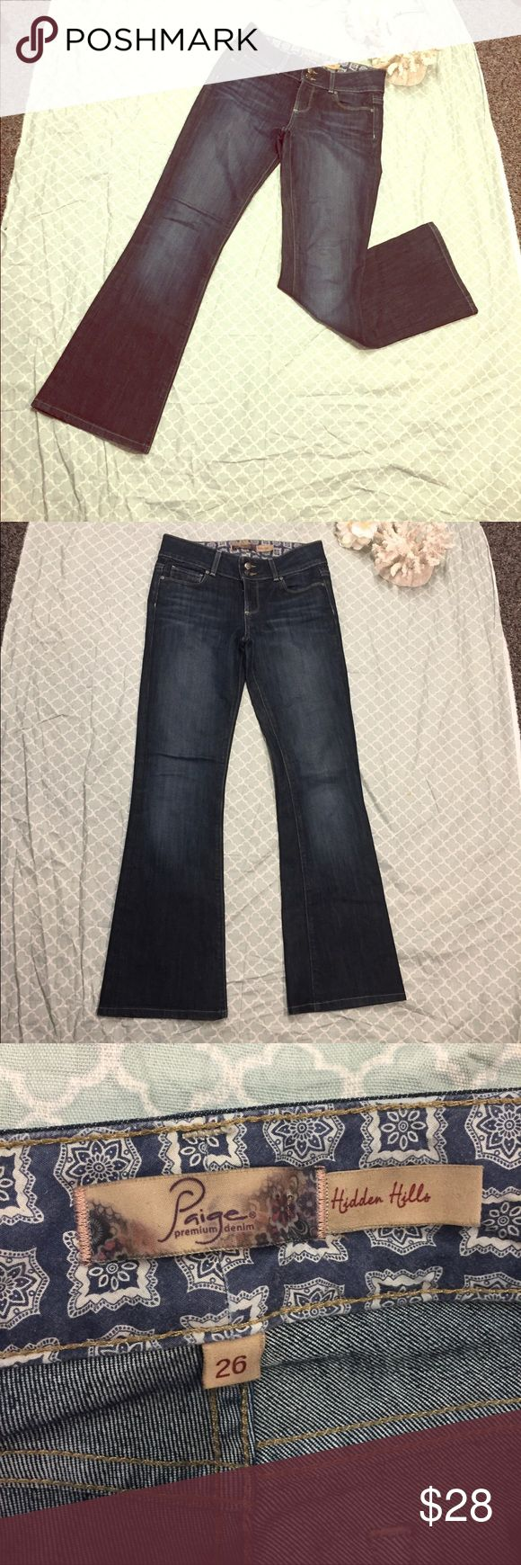 "Paige Premium Denim Dark Wash Hidden Hills Jean 26 Paige Premium Denim Dark Wash Hidden Hills Jeans SZ 26 w/ 30""Inseam. EUC adorable designer jeans. Super flattering, nice and dark with the perfect stiffness. Paige Jeans Jeans Flare & Wide Leg"