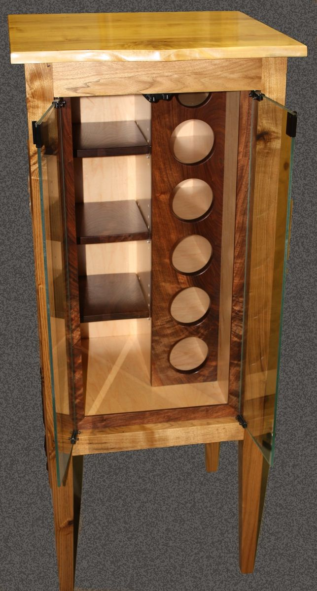 Custom made butternut wine cabinet wine racks for Butternut kitchen cabinets