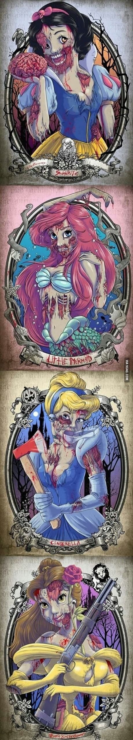 Creepy Disney Princesses.  I saw a guy at Disneyland with Snow White print on a tee.  I thought it was cool and creepy