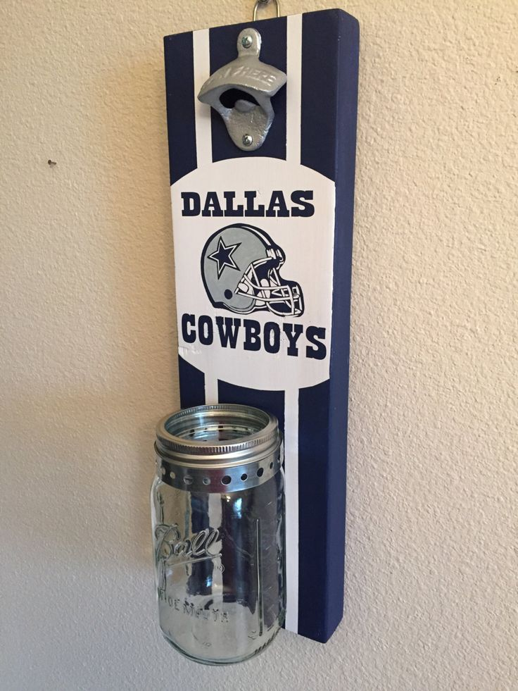 DALLAS COWBOYS Bottle Opener with Mason Jar Rustic Football TEXAS Dallas Cowboys - pinned by pin4etsy.com