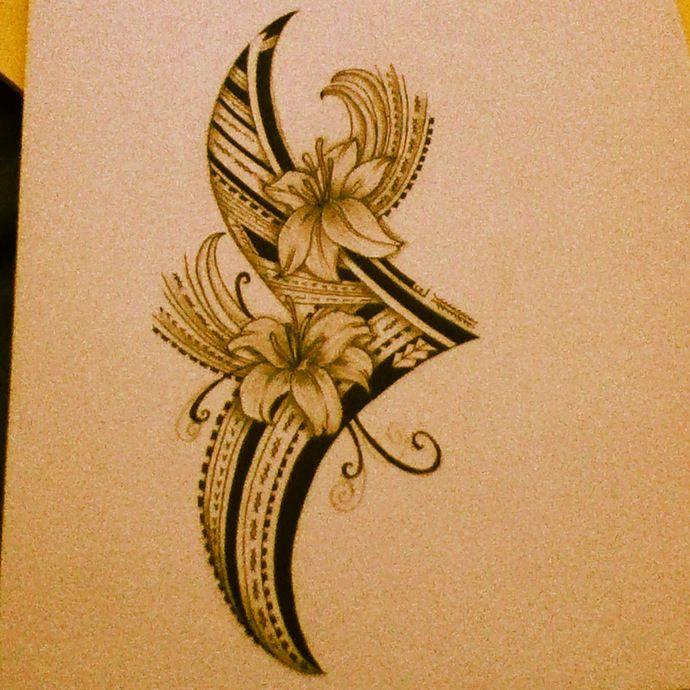 Polynesian Flower Tribal. | Polynesian Tribal Art | Pinterest