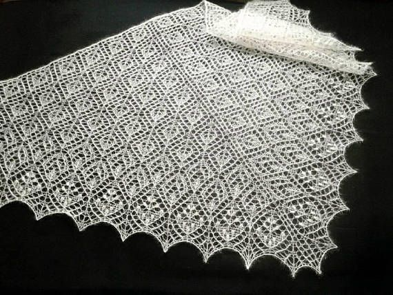 Wedding cream shawl. Lace knitted shawl. Cream white mohair