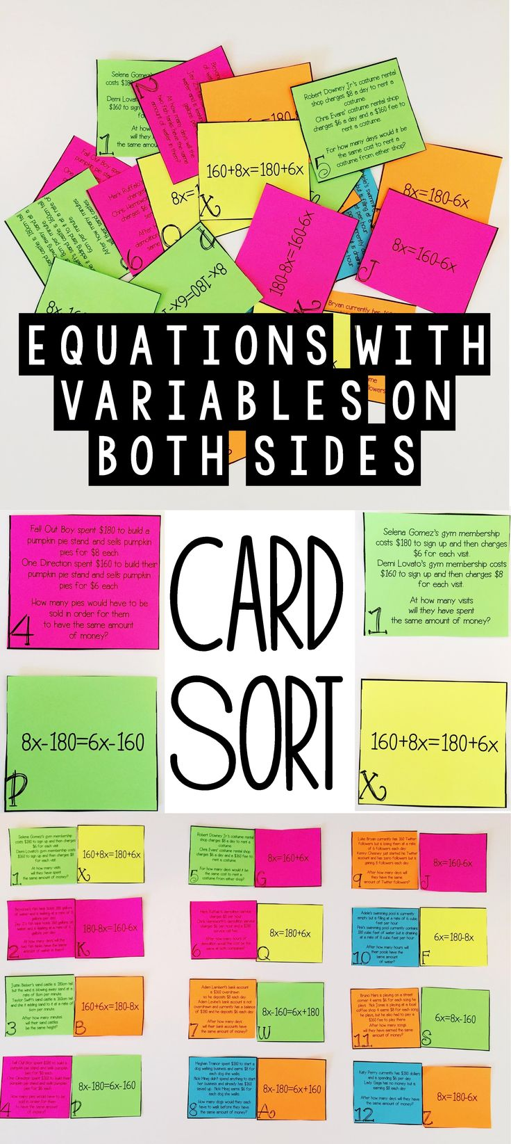 My 8th grade math students loved this hands activity card sort.  This was the perfect way to practice working with word problems involving equations with variables on both sides.  It seems like this type of activity shows up every year on STAAR.  I will definitely be using this activity instead of a worksheet for test prep this year.