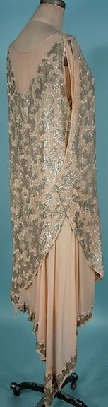 1926 HOUSE OF WEEKS, Paris Silver Sequin and Beaded Crepe Chiffon and Silver Lame Flapper Dress
