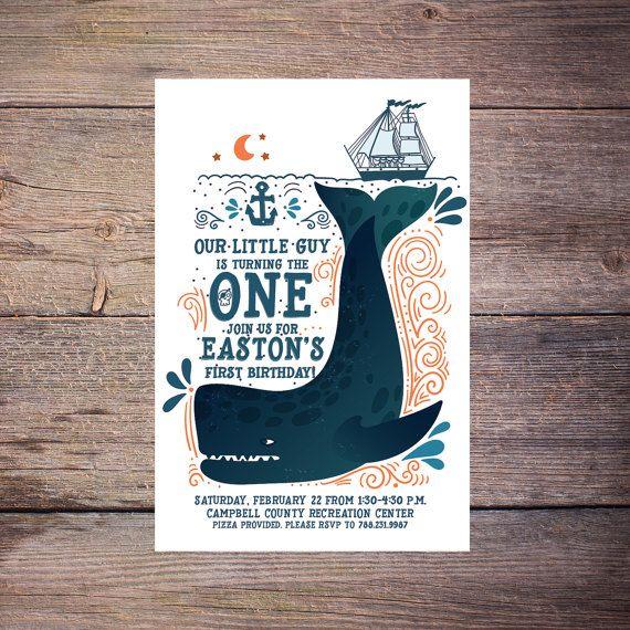 Whale Birthday Invitation, Nautical, Pool Party, Print at Home Birthday Invitation, birthday invite, Printable Birthday Invitation  by LarissaKayDesigns