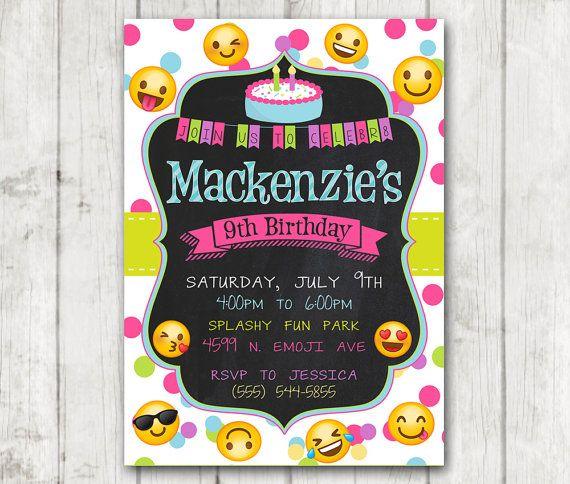 Printable Emoji Birthday Party Invitation, Emoji