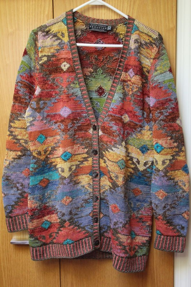 GORGEOUS PERUVIAN CONNECTION KAFFE FASSETT, ART TO WEAR CARDIGAN SWEATER, SIZE L