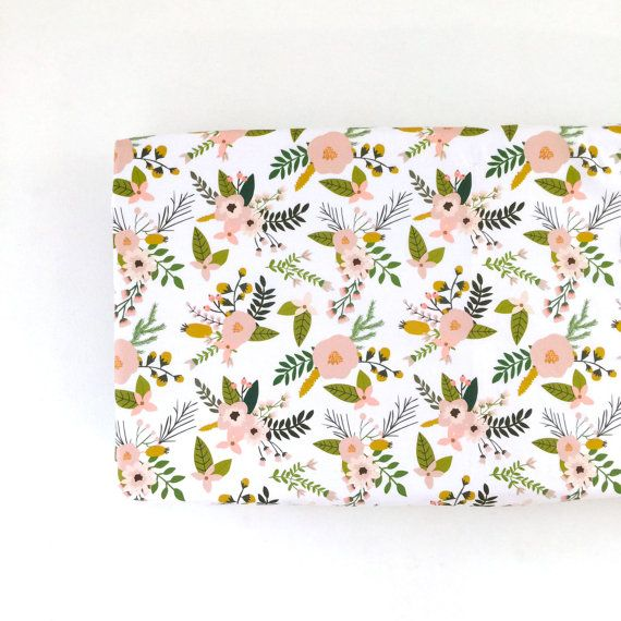 Changing Pad Cover Blush Sprigs and Blooms. Change Pad. Changing Pad. Minky…