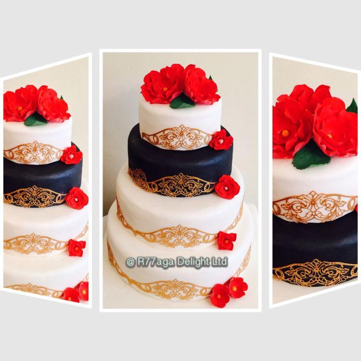 Black, white & red flowers wedding cake of vanilla sponge filled with melon buttercream http://www.facebook.com/R77aga