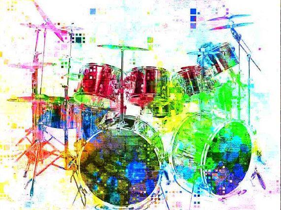 Drums, Drum Set, Drums Art, Drums Print, Music Gift, Music Art, Drummer, Music…