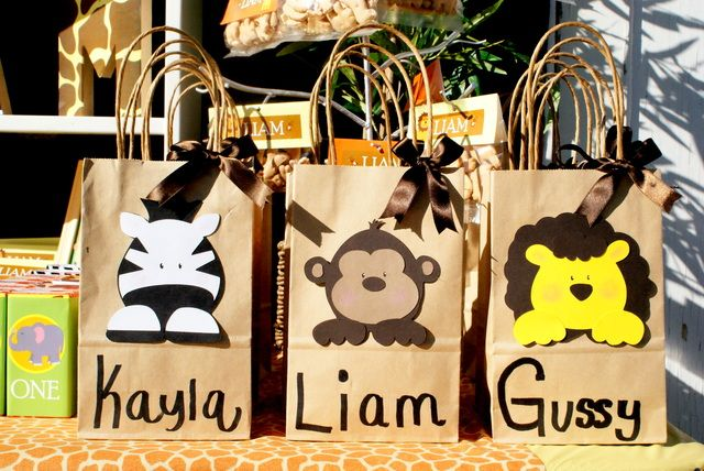 Cute zebra, monkey and lion goody bags